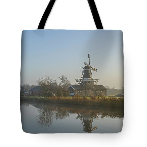 Two Dutch Windmills In The Fog Tote Bag