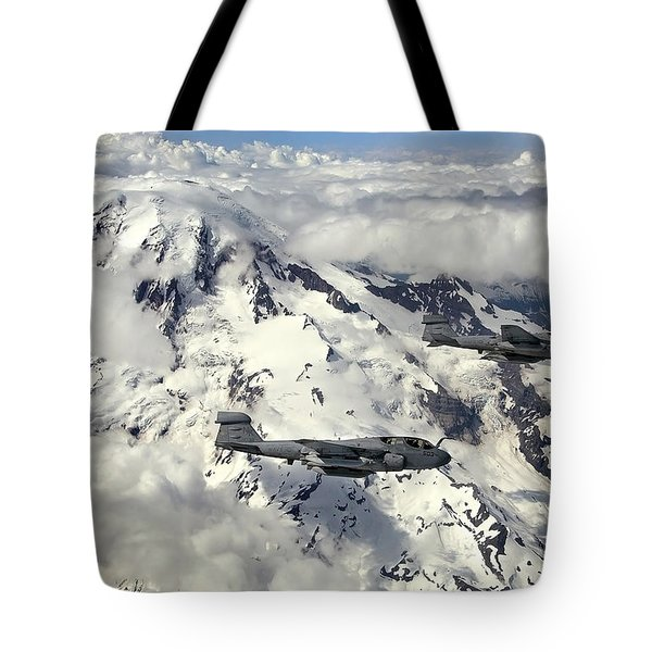 Two Ea-6b Prowlers Fly In Formation Tote Bag by Stocktrek Images