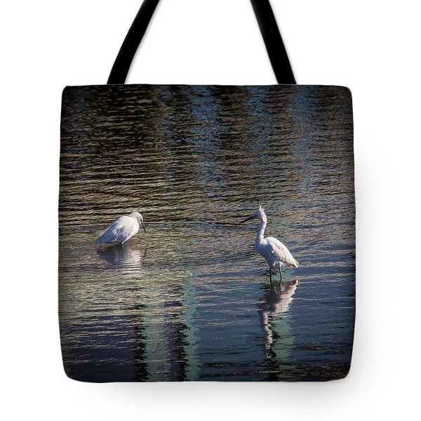 Two Egret's Fishing Tote Bag
