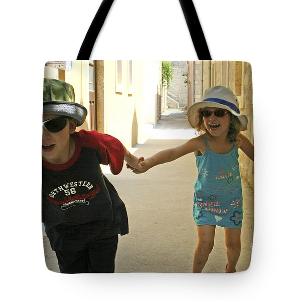 Two Excited Children Tote Bag by Danny Yanai