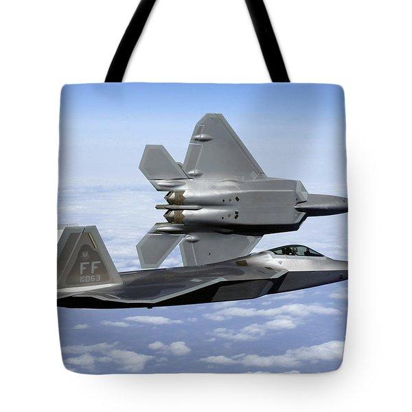 Two F-22a Raptors In Flight Tote Bag