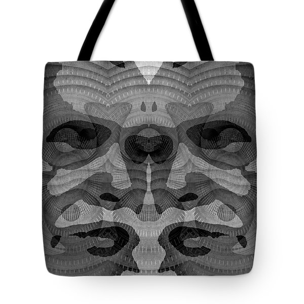 Tote Bag featuring the digital art Two-faced Bw Version by Visual Artist Frank Bonilla