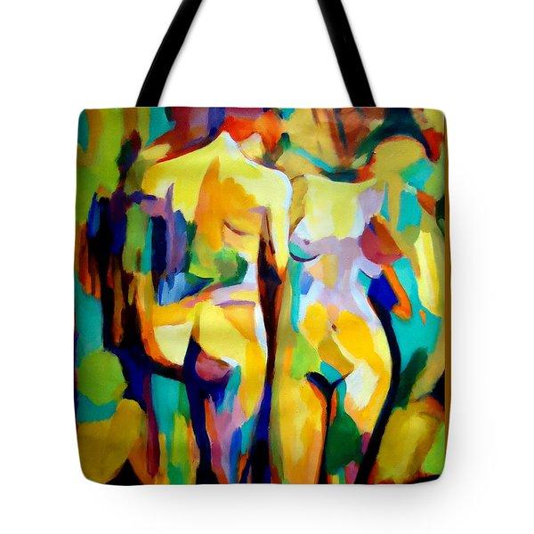 Two Figures Tote Bag by Helena Wierzbicki