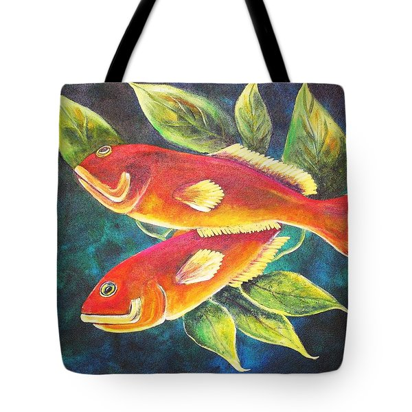 Tote Bag featuring the painting Two Fish by Patricia Piffath