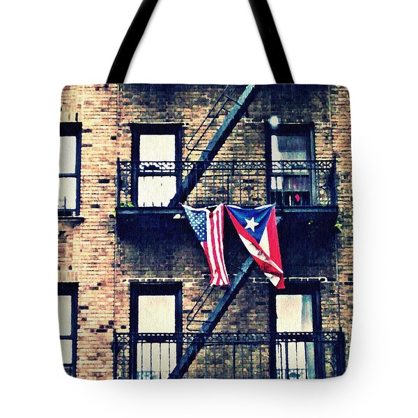 Two Flags In Washington Heights Tote Bag by Sarah Loft