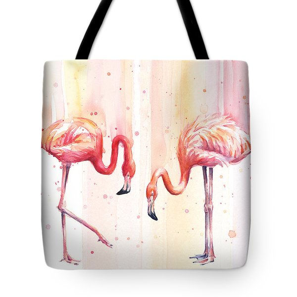 Two Flamingos Watercolor Tote Bag by Olga Shvartsur