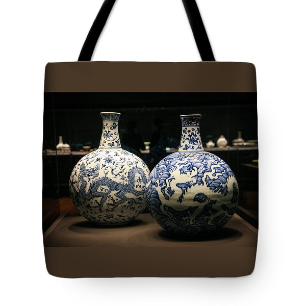 Two Flasks With Dragons Tote Bag by Silvia Bruno