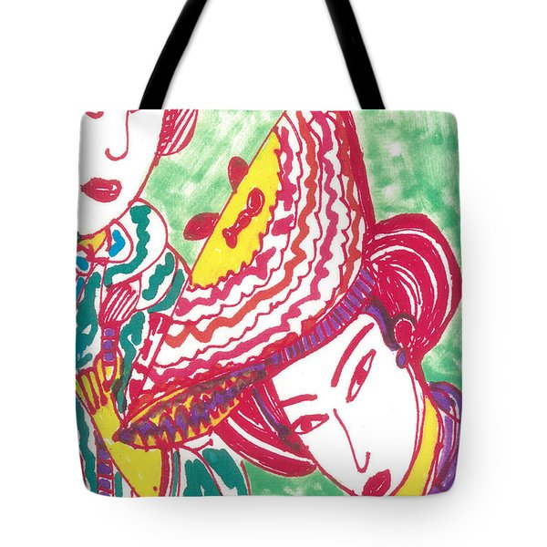 Tote Bag featuring the painting Two Geishas by Don Koester