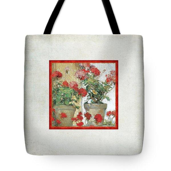 Two Geranium Pots Tote Bag