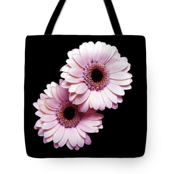 Two Gerberas On Black Tote Bag
