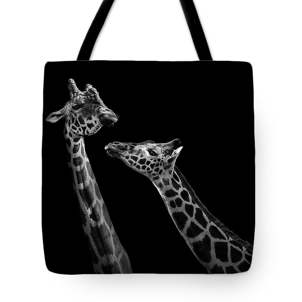 Two Giraffes In Black And White Tote Bag