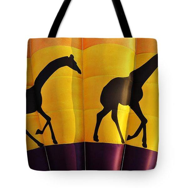 Two Giraffes Riding On A Hot Air Balloon Tote Bag