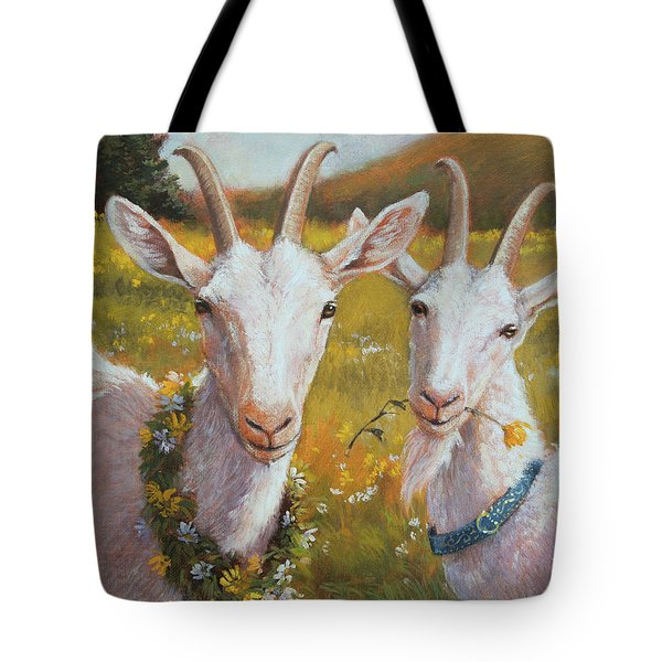 Two Goats Of Summer Tote Bag by Tracie Thompson