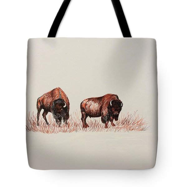 Two Grumpy Bisons  Tote Bag by Ellen Canfield