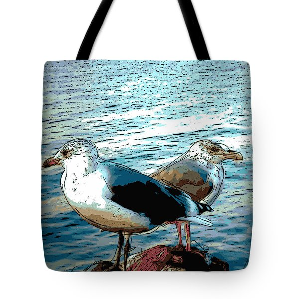 Two Gulls Tote Bag by Ann Tracy
