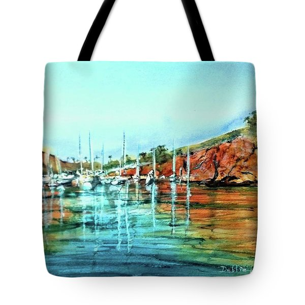 Tote Bag featuring the painting Two Harbors Catalina Morning Impressions by Debbie Lewis