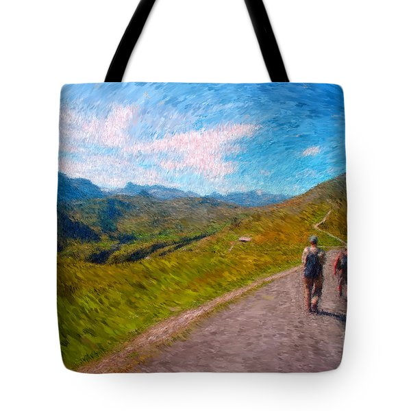 Two Hikers In Adelboden Tote Bag by Gerhardt Isringhaus