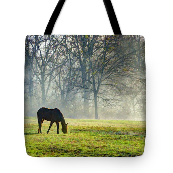 Two Horse Morning Tote Bag