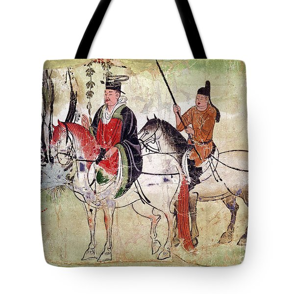 Two Horsemen In A Landscape Tote Bag by Chinese School