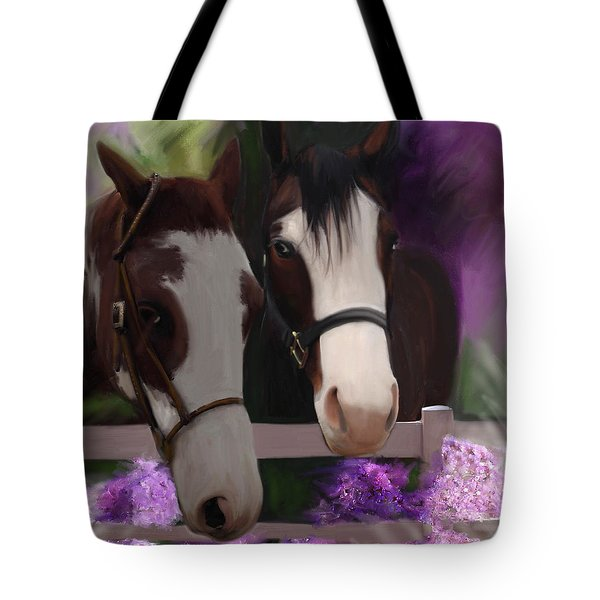 Two Horses And Purple Flowers Tote Bag