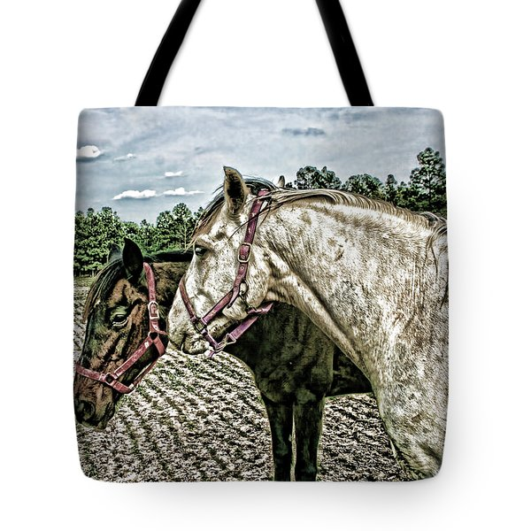 Two Horses In A Field Tote Bag