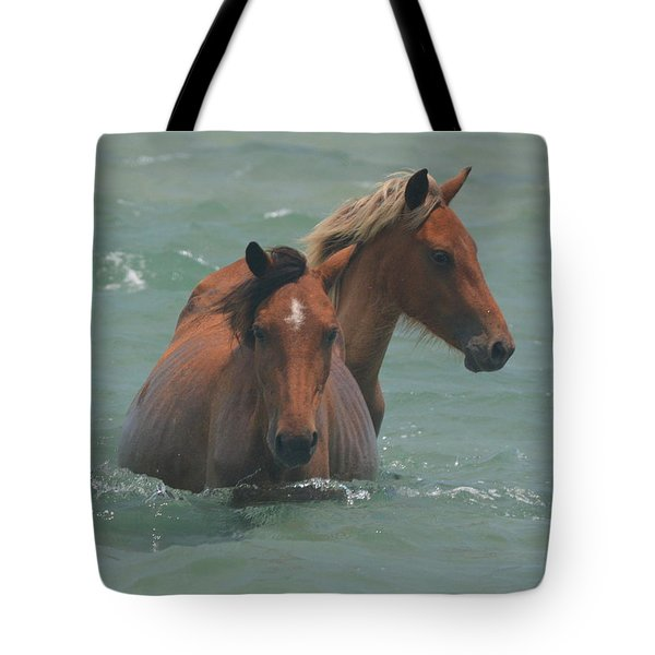Two Horses Near Shackleford Tote Bag