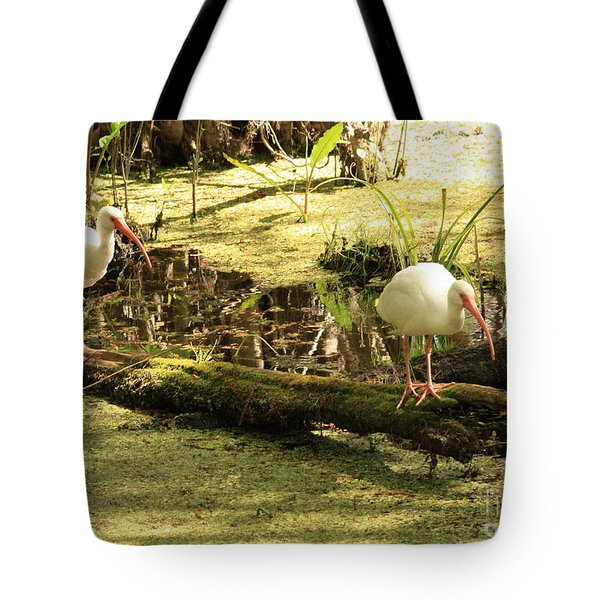 Two Ibises On A Log Tote Bag