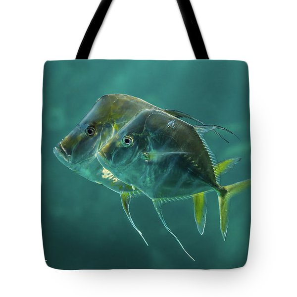 Two In Turquoise Tote Bag