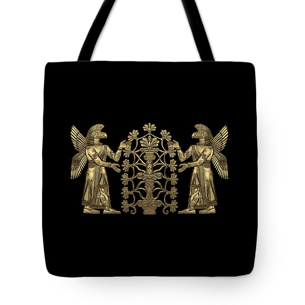 Two Instances Of Gold God Ninurta With Tree Of Life Over Black Canvas Tote Bag