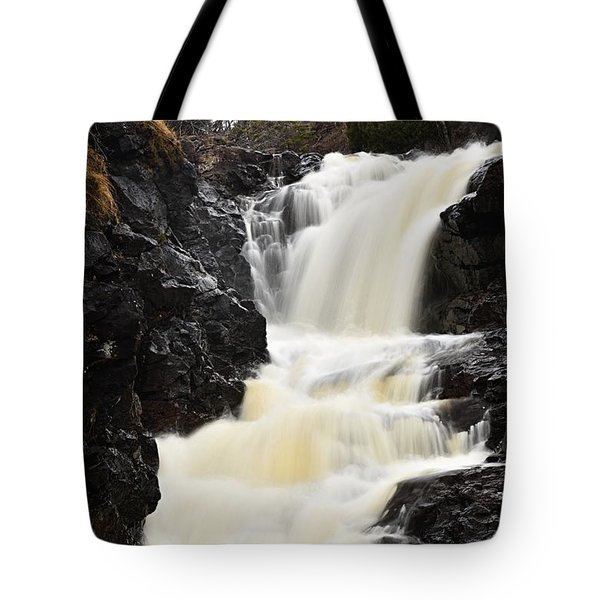 Tote Bag featuring the photograph Two Island River Waterfall by Larry Ricker