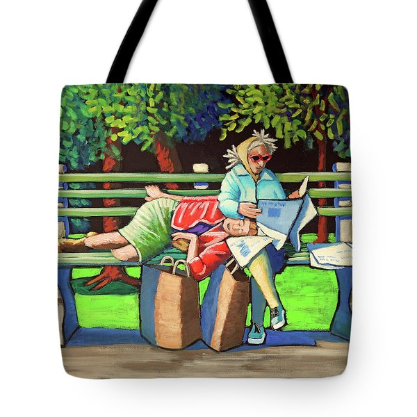 Two Ladies On Bench Tote Bag