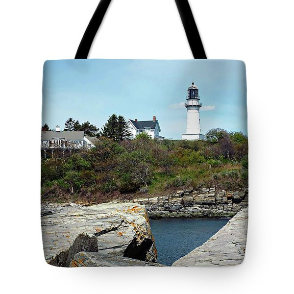 Tote Bag featuring the photograph Two Lights - Maine by Joseph Hendrix