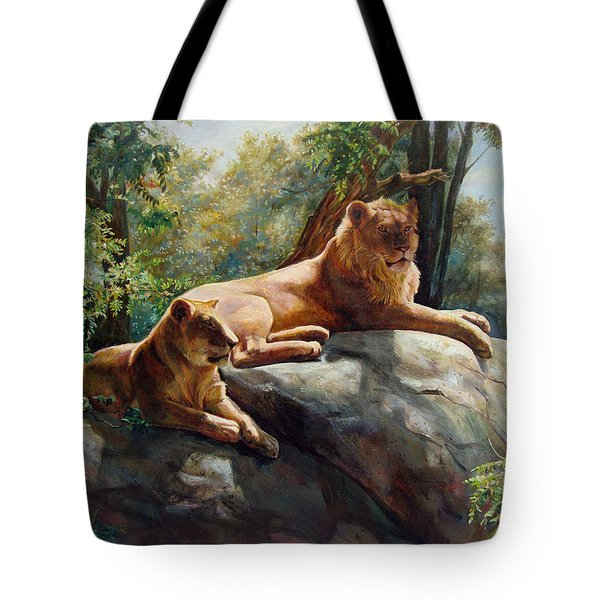 Two Lions - Forever And Always Together Tote Bag