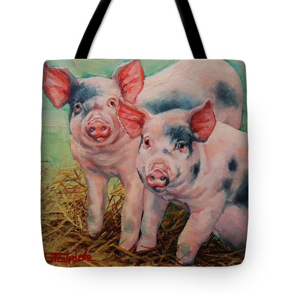 Tote Bag featuring the painting Two Little Pigs  by Margaret Stockdale