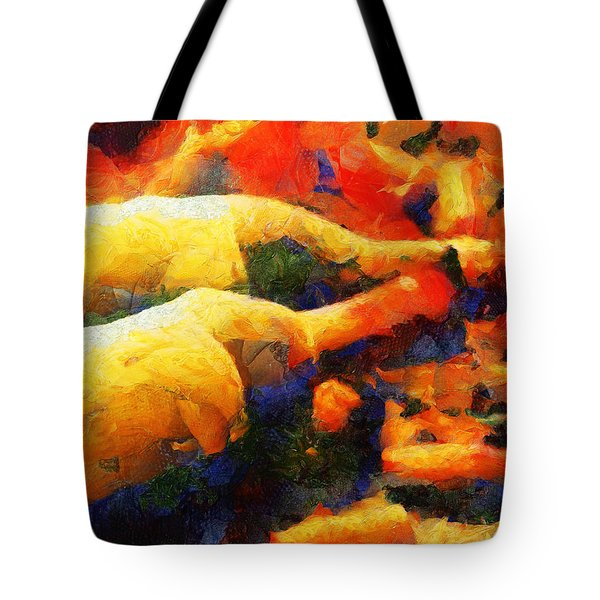 Tote Bag featuring the painting Two Lovebirds - The Wine Story by Sir Josef - Social Critic - ART