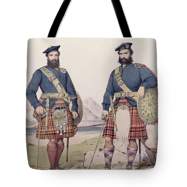 Two Men In Highland Dress Tote Bag