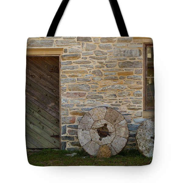 Two Mill Stones Against Building Tote Bag