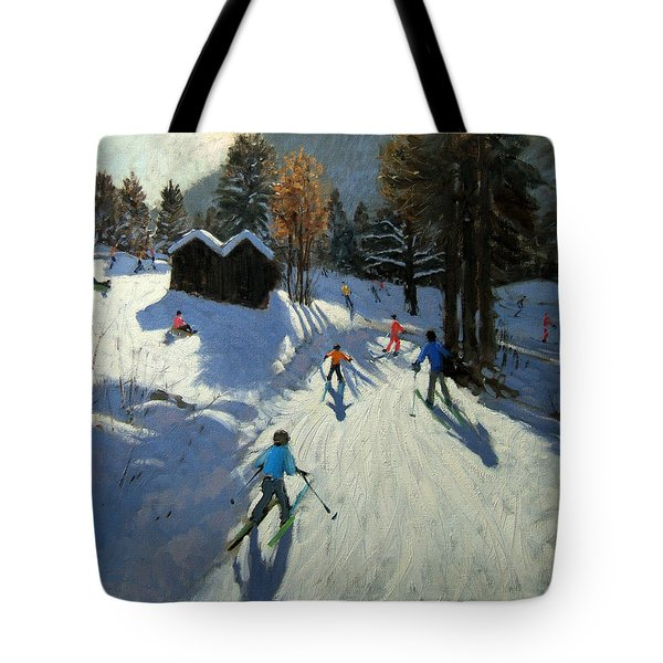 Two Mountain Huts Tote Bag by Andrew Macara