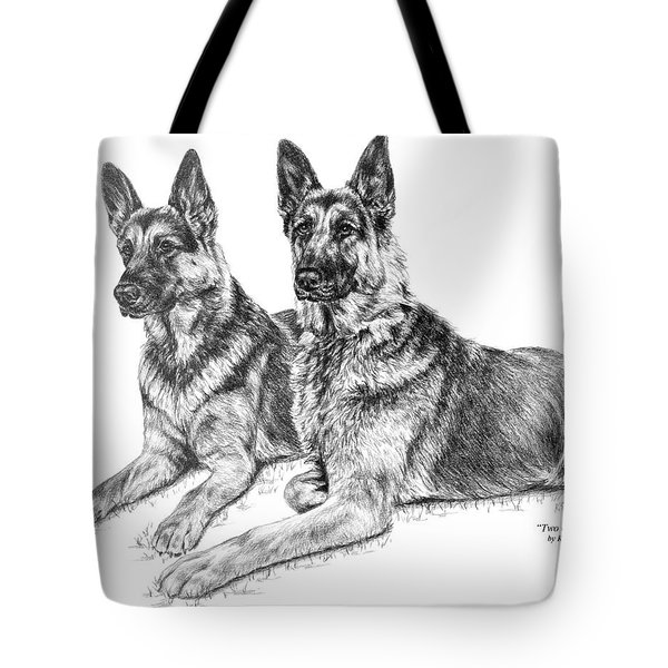 Two Of A Kind - German Shepherd Dogs Print Tote Bag