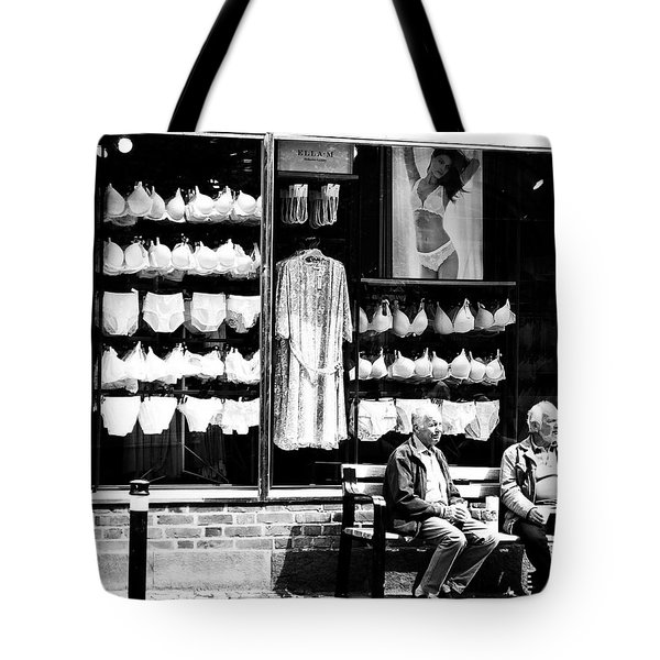Tote Bag featuring the photograph Two Old Men And Lingerie by Karen Stahlros