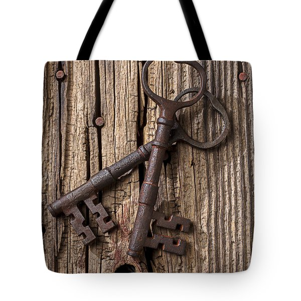 Two Old Skeletons Keys Tote Bag by Garry Gay