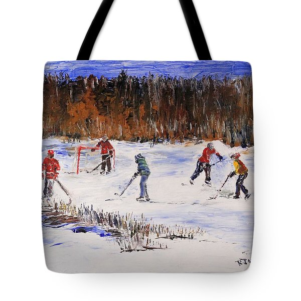Two On Two On The Frozen Pond Tote Bag