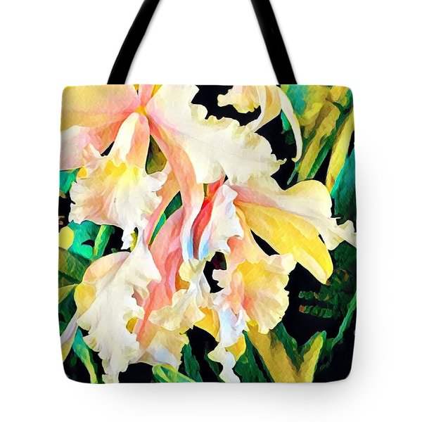 Two Orchids Pink Turquoise Tote Bag