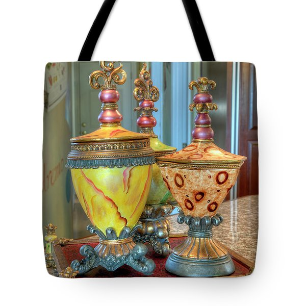 Two Ornate Colorful Vases Or Urns Art Prints Tote Bag