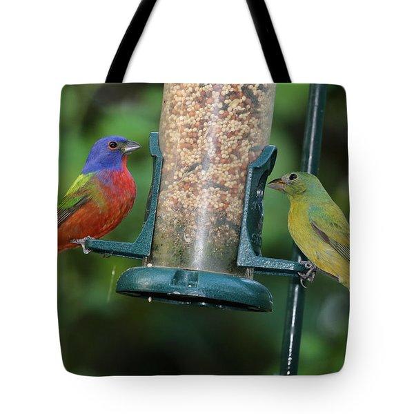 Two Painted Buntings Tote Bag
