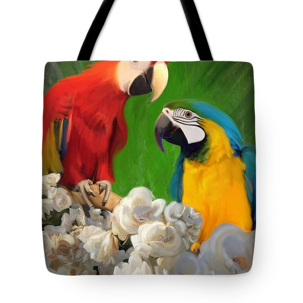 Two Parrots And White Roses Tote Bag by Julianne  Ososke