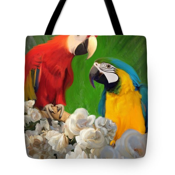 Two Parrots And White Roses Tote Bag