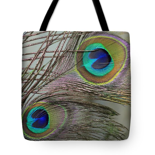 Two Peacock Feathers Tote Bag