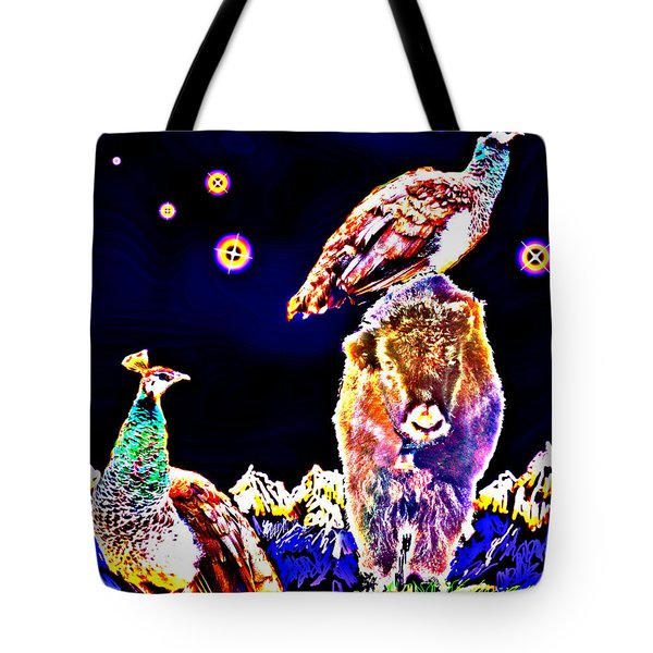 Tote Bag featuring the photograph Two Peacocks And A Yak by Anastasia Savage Ealy