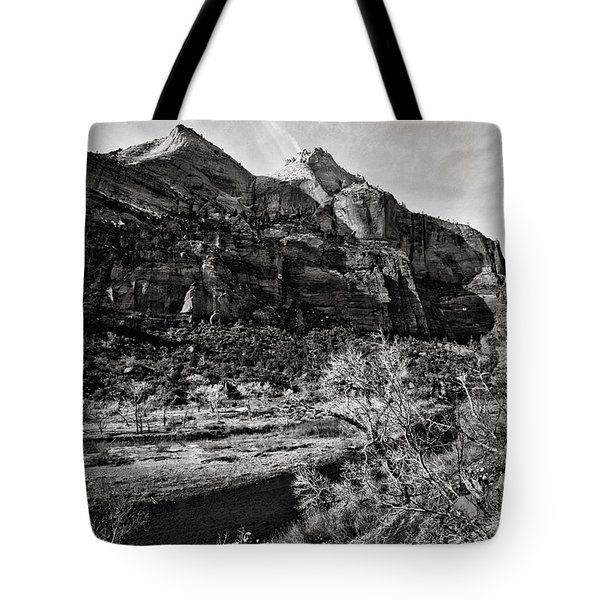 Two Peaks - Bw Tote Bag by Christopher Holmes